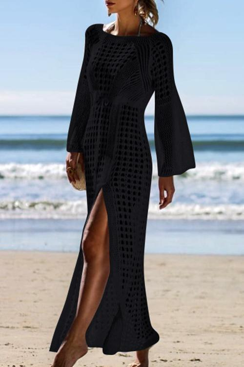 Goddess Crochet Split Maxi Cover Up
