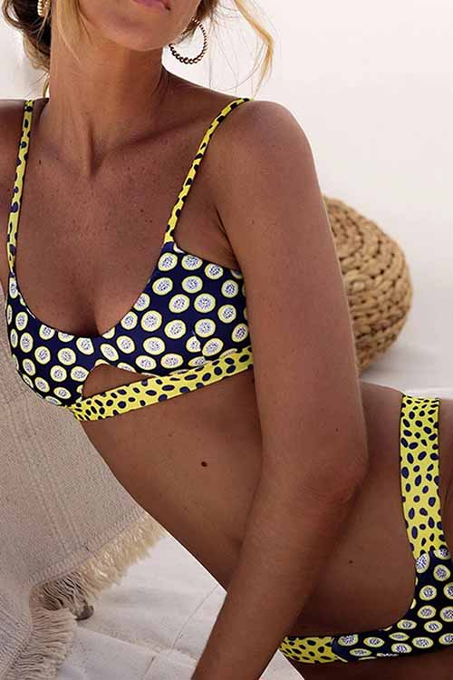 Striped Polka Dot Cutout String Bikini