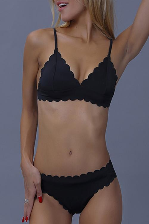 Black Scalloped String Bikini