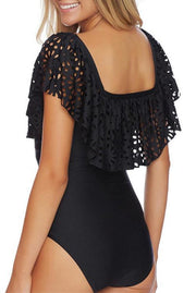 Trendy Off Shoulder Hollowed-out Ruffles One-piece