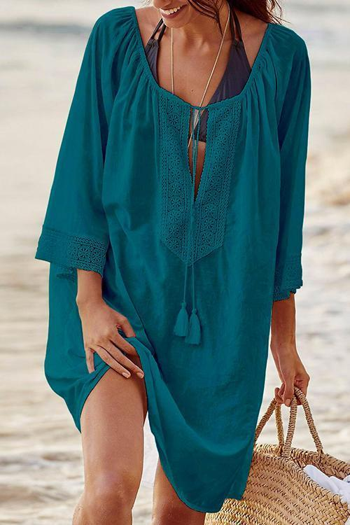 Bohemia Front Lace-up Loose Casual Cover Up