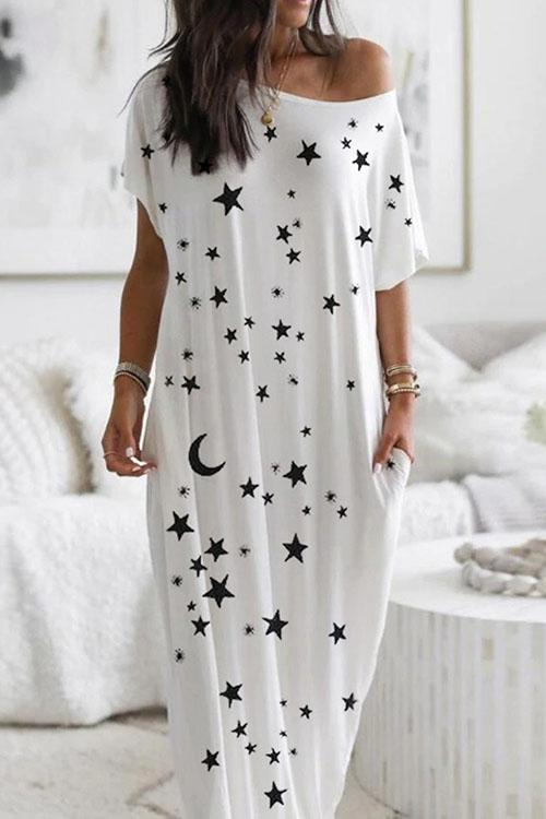 Long Dress With Star And Moon Print
