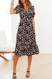 Daisy Print V-Neck Ruffled Dress