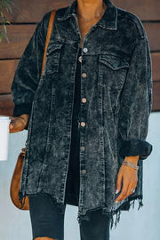 Maddy Cotton Distressed Corduroy Shacket