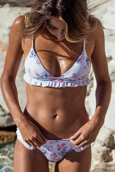 Ruffled Flower Print String Bikini
