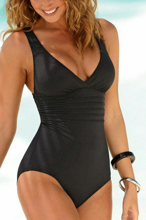 V Neck Cross Backless One Piece
