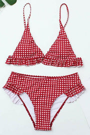 Checked Ruffled High Waist String Bikini
