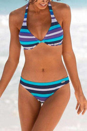 Color Striped Halter Bikini