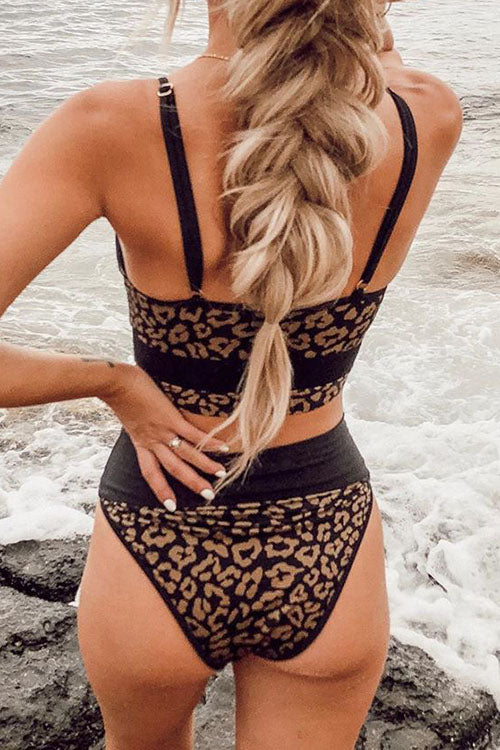 Leopard Joint High Waist String Bikini