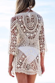 Lace Hollow Solid Color Cover Up