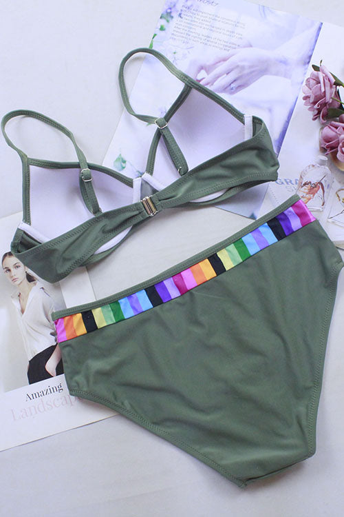 Rainbow Stripe Joint String Bikini