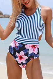 Stripe Floral Print One Piece