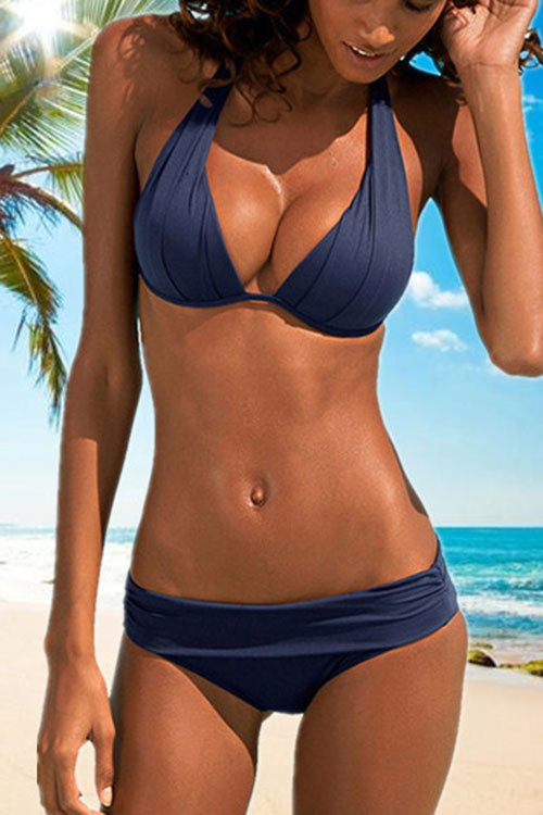 Creased Halter Push Up Bikini