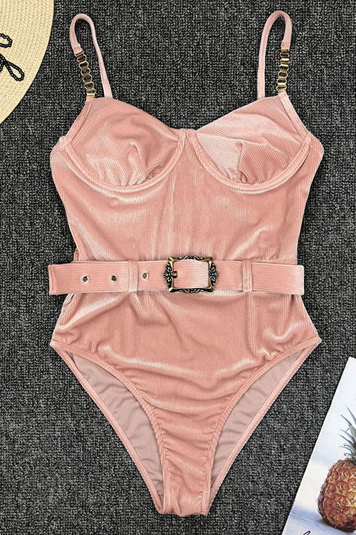 Metal One Piece Swimsuit With Belt