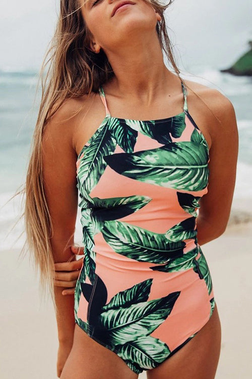 Leaf Print Halter One Piece