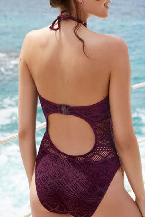 Lace Hollow Halter One Piece