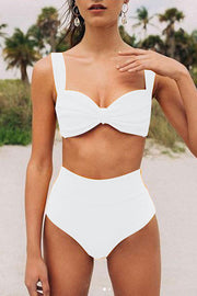 Solid Color High Waist Push Up Bikini
