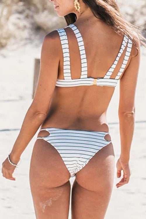 Striped Print Hollow Bikini