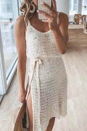 Strap Hollow Beach Knit Mini Dress