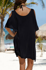 Letter Print Cold Shoulder Cover Up