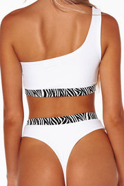 Zebra Print One Shoulder Bikini