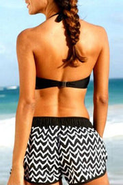 Striped Halter Boxer Bikini