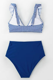 V Neck Striped Ruffled High Waist Bikini