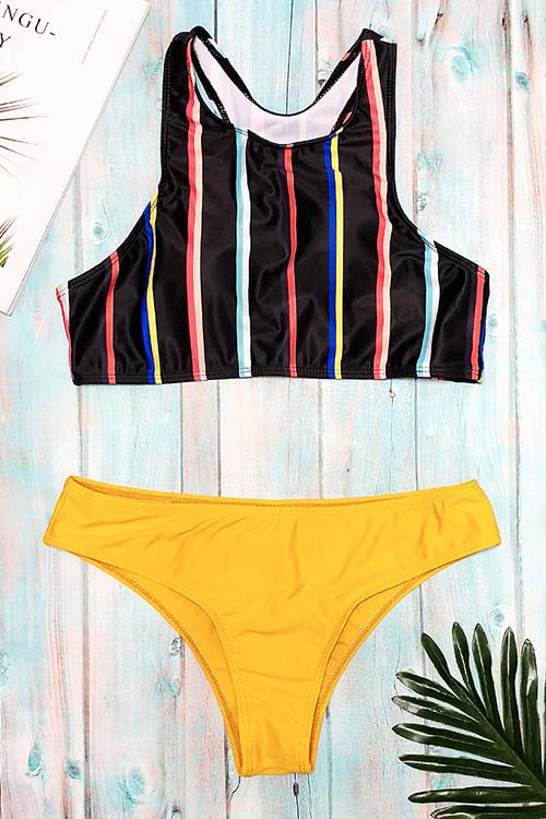 Striped Printed Contrast Bikini