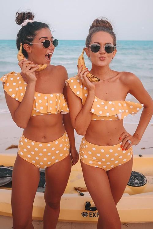 Polka Dot Ruffled One Shoulder Bikini