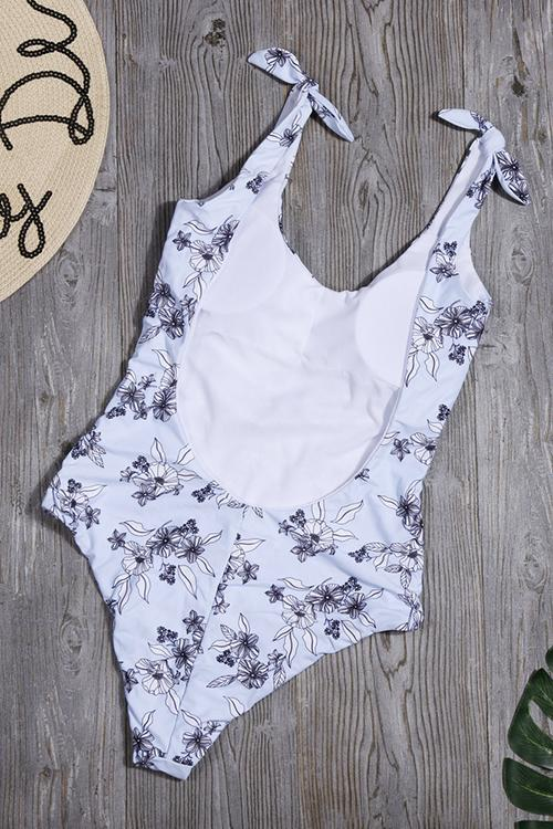 Flower Print Strapless Backless One Piece