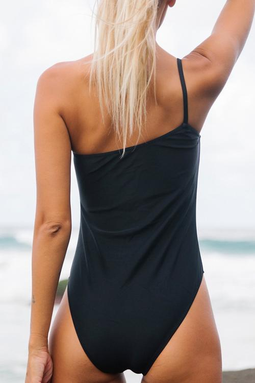 Solid One Shoulder One Piece