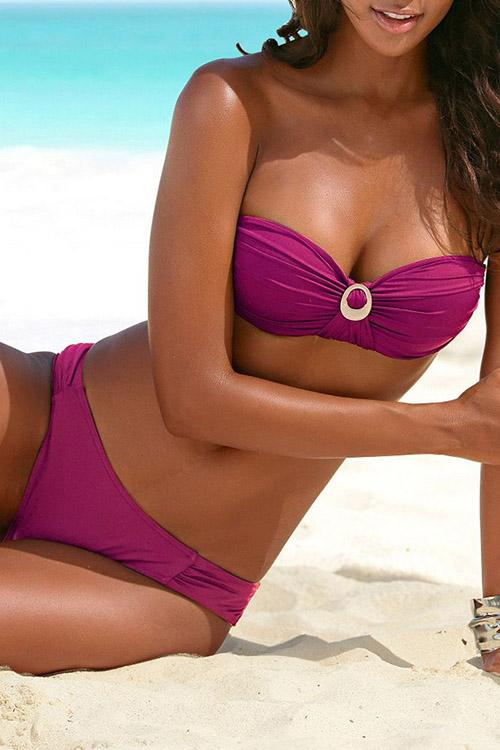 Pleated Halter Solid Color Bikini