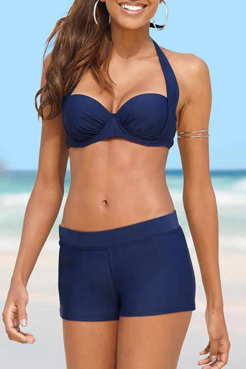 Solid Color Push Up Boxer Bikini