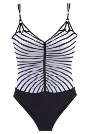Striped Printed Pleated One Piece