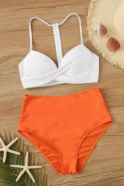 Orange High Waist Push Up Bikini