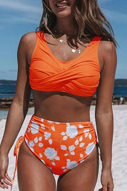High Waist Criss Cross Flower Print Bikini