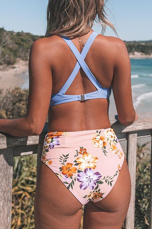 Purple Flower Print High Waist Bikini