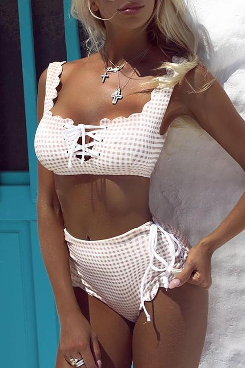 Lace Up Bandeau Boob tube High Waist Bikini