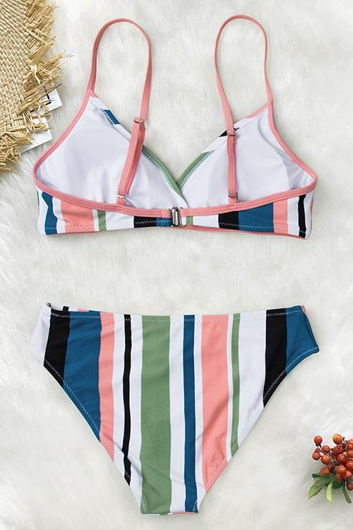 Striped Back Hook Bikini