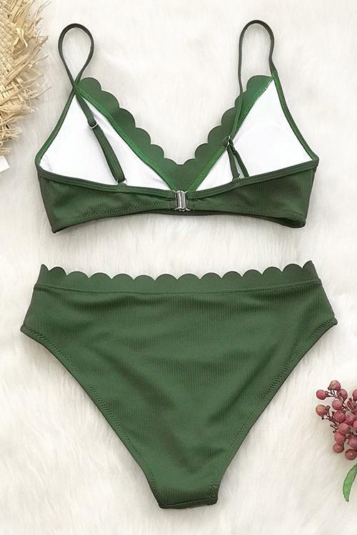 Solid Color Lace Backless Bikini