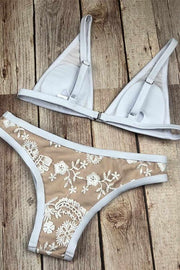 White Lace Low-Waist Embroidered Bikini