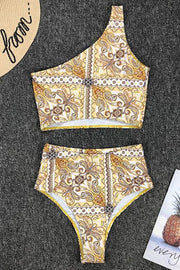 Retro One Shoulder High Waist Bikini