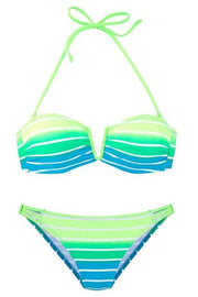 V-Neck Gradient Striped Bikini