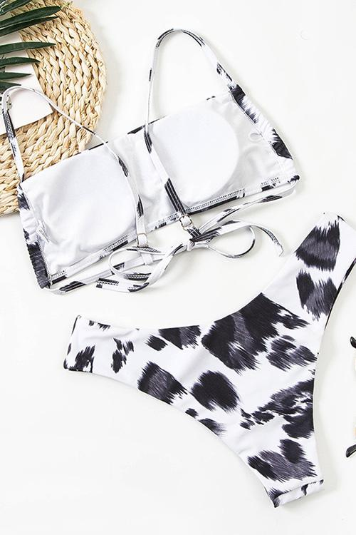 Cow Print Backless Bikini