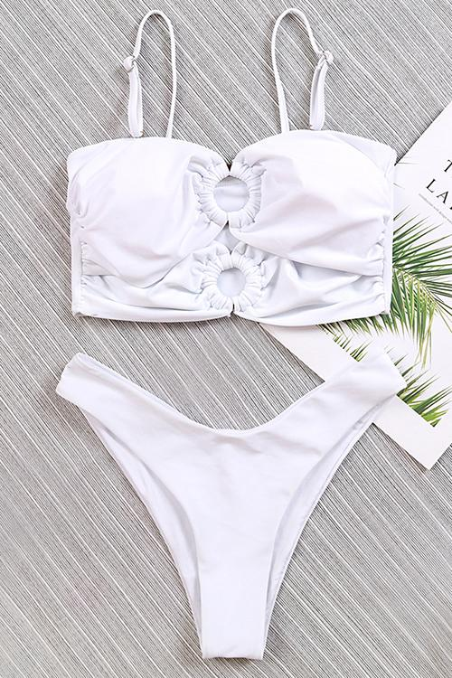 White Pleated Ring Cutout Bikini