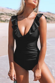 V-Neck Ruffled One Piece