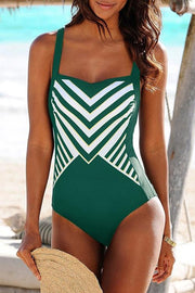 Striped Print One Piece