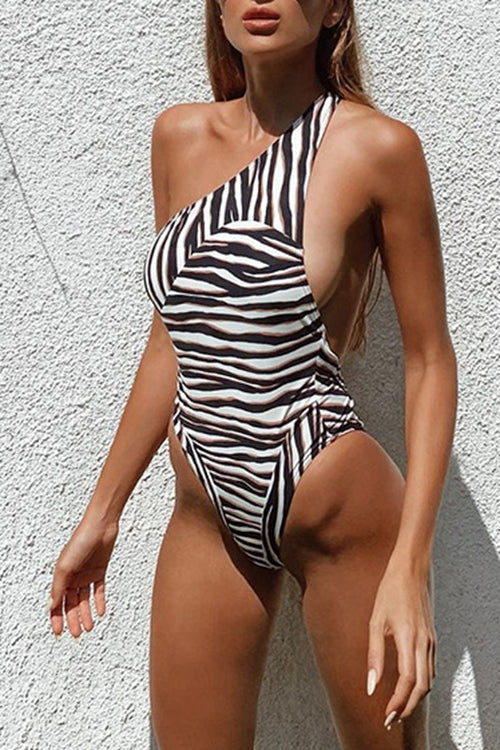 One-Shoulder Striped One Piece