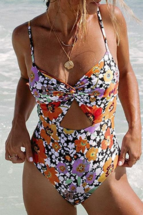 Printed Twisted Hollow One-Piece