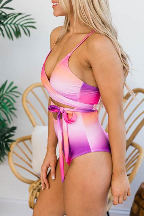 Gradient Halter Strap Swimsuit